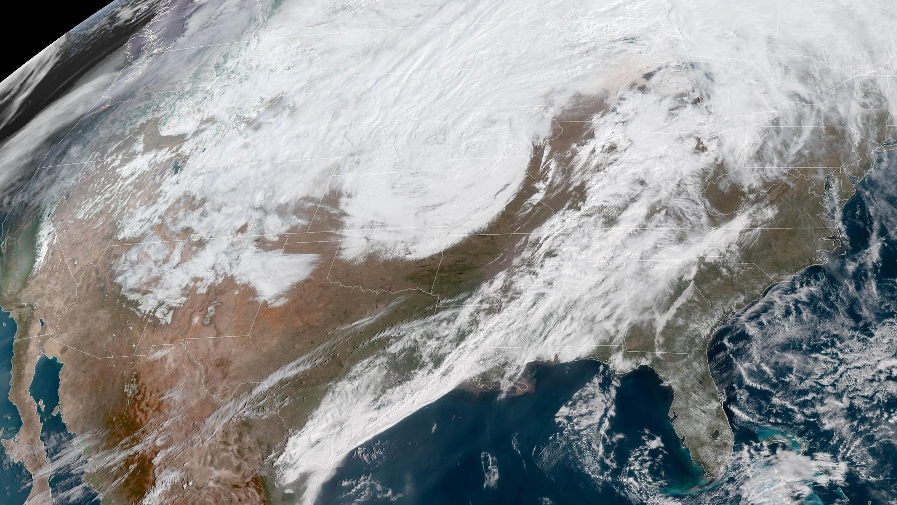 A massive late winter storm is bringing blizzard conditions to a number of central U.S. states Thursday. In affected areas many agencies are shutting down and urging people to stay off the roads