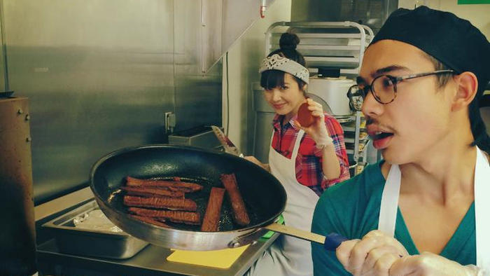 "<p>Kale Walch cooks a pan of ""bacon,"" one of the meatless meats that he and his sister Aubry Walch whip up for The Herbivorous Butcher. They're hoping to open what they say is the world's first vegan butcher shop in the spring.</p>"