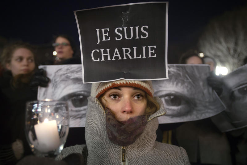 <p>Armandine Marbach takes part in a demonstration on January 7, 2014, supporting the French publication Charlie Hebdo</p>