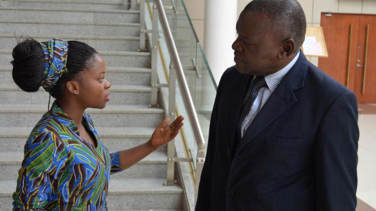 <p>Memory Banda, 18, advocates for victims of child marriage with a member of the Malawian Parliament. </p>