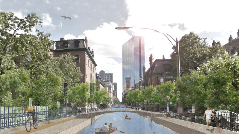 <p>This artistic rendering of a canal system in the Back Bay neighborhood of Boston has people talking about climate change.</p>