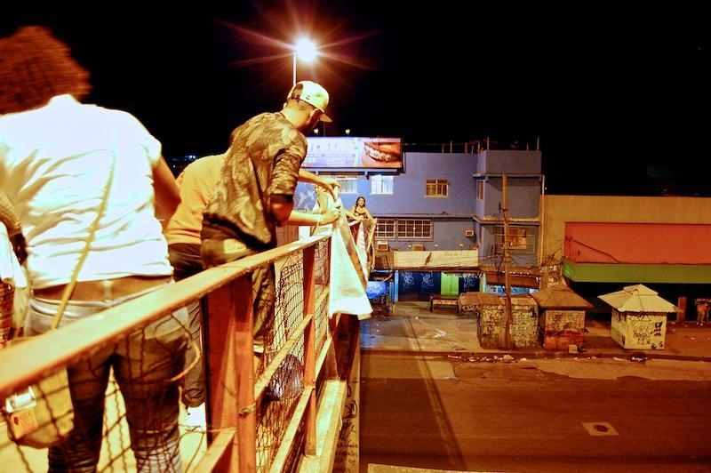 <p>Activists put up a banner on the railing of a pedestrian highway overpass in Rio de Janeiro. The banner urges drivers to oppose a bill that would send adolescents as young as 16 to adult prisons in Brazil.</p>