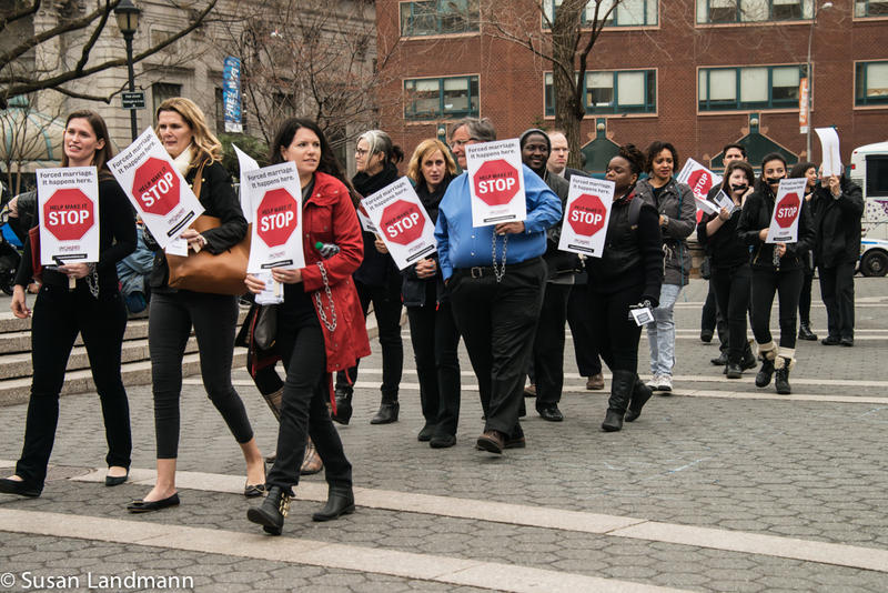 <p>Supporters of the group Unchained At Last march in opposition to forced marriages.</p>