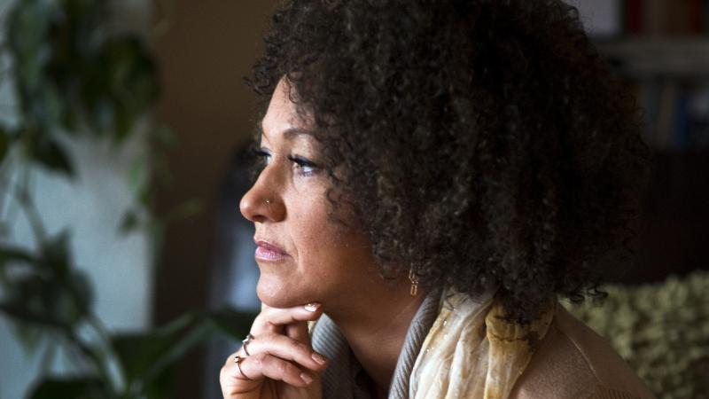 <p>Rachel Dolezal poses for a photo in her Spokane, Washington home.</p>