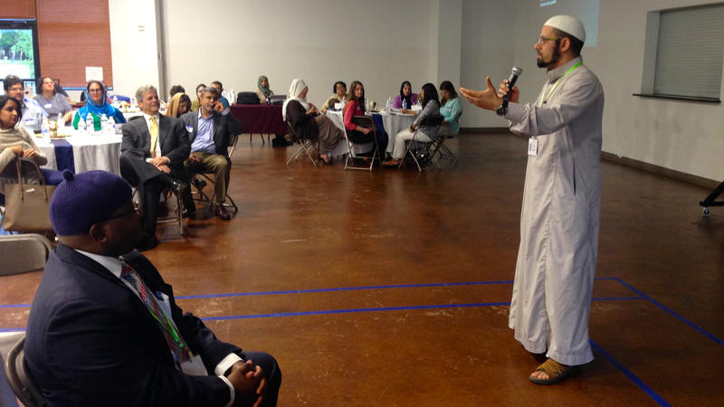 "<p>Imam Islam Mossaad speaks at a recent ""Ramadan Open House"" event at the North Austin Muslim Community Center in the Texas capital. </p>"