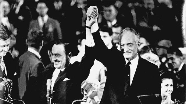 Photo dated  then presidential hopeful Barry Goldwater and his running mate William Miller accepting the Republican Party nomination in San Francisco July 17, 1964.