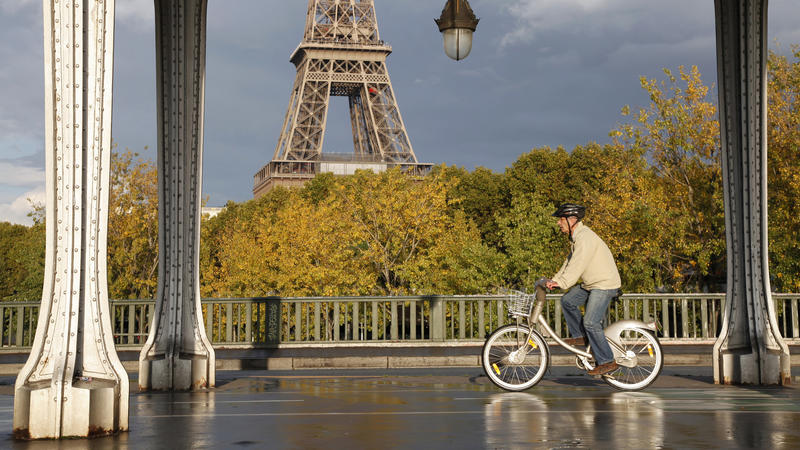 <p>A man rides a Velib self-service public bicycle under an elevated metro line near the the Eiffel Tower after a brief rain shower in Paris October 26, 2013. </p>