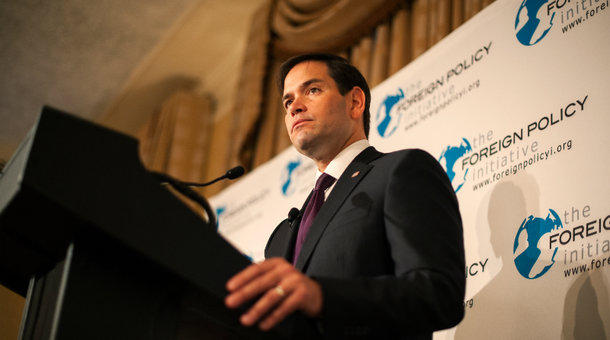Republican presidential candidate Sen. Marco Rubio speaks during a speech hosted by the Foreign Policy Initiative last Friday in New York City. Rubio has missed almost a third of his senate votes this year.
