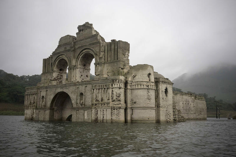 <p>The remains of a 16th century church known as the Temple of Quechula have been exposed due to a drought that's affecting water levels of the Grijalva River, which feeds the Nezahualcoyotl reservoir in the Mexican state of Chiapas.</p>