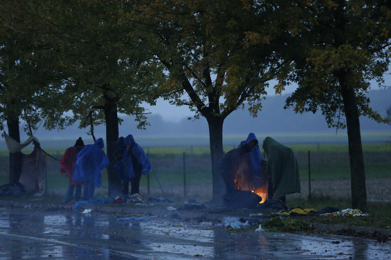 <p>Migrants warm themselves next to a fire as they wait to cross the border from Croatia into Slovenia.</p>
