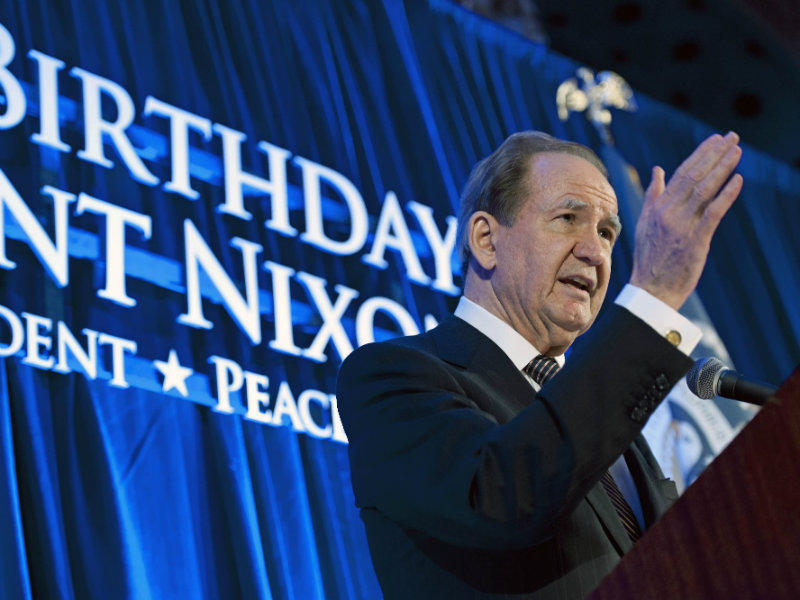 Pat Buchanan, former speechwriter for President Richard Nixon, addresses the Richard Nixon Centennial Birthday Celebration in Washington, Wednesday, Jan. 9, 2013.