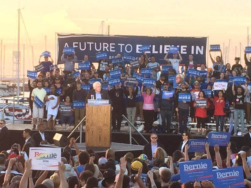 Democratic presidential candidate Bernie Sanders speaks at a campaign rally in Vallejo's Waterfront Park Wednesday evening.