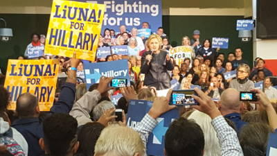 Former Secretary of State Hillary Clinton speaks to at a campaign rally in Oakland on Friday, May 6, 2016.