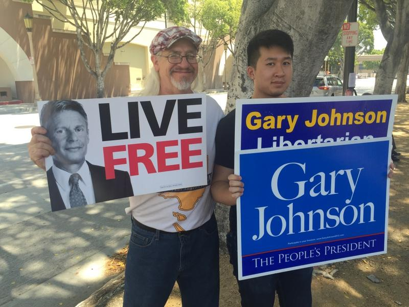 Supporters of the Libertarian presidential nominee Gary Johnson gather in Pasadena at the second annual Politicon event. Johnson was one of the conference's headliners.