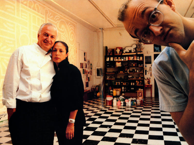 Longtime art collectors Mera and Don Rubell started collecting pieces by artist Keith Haring in 1981. (All three are pictured here in 1989.) The couple rarely considers selling artwork.