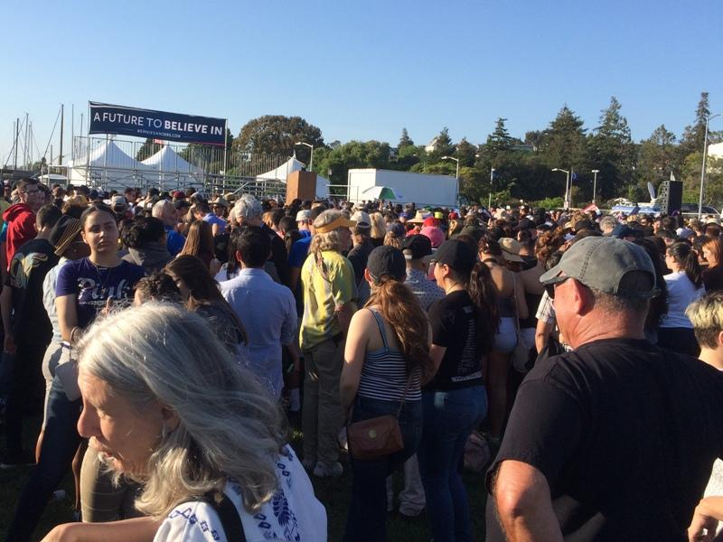 A large crowd gathered to see Democratic presidential candidate Bernie Sanders in Vallejo last month.
