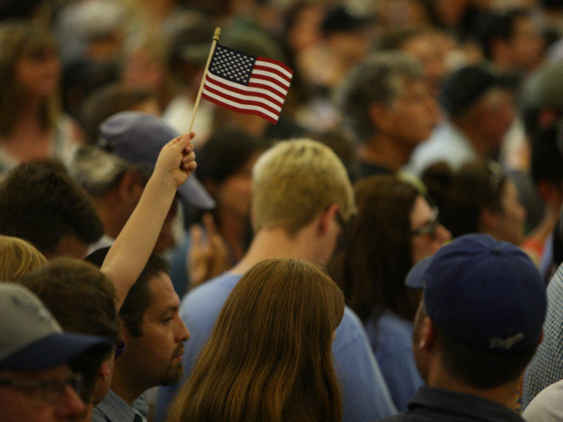 Supporters attend a rally for Hillary Clinton at Sacramento City College on June 5, 2016.