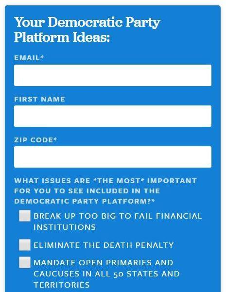 A screen grab from a form on Sanders website seeking guidance from his supporters for the Democratic Party platform.