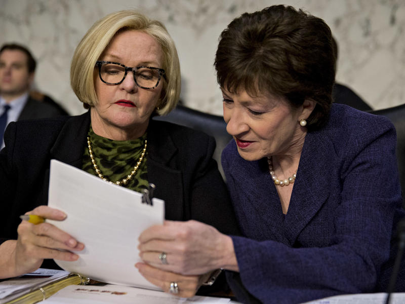 Sen. Susan Collins (right), a Republican from Maine and chairman of the Senate Special Committee on Aging, speaks with ranking member Sen. Claire McCaskill, a Democrat from Missouri, before the start of a hearing in April.