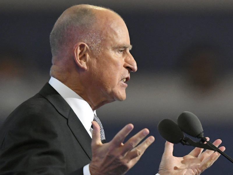 California Gov. Jerry Brown speaks during the third day of the Democratic National Convention in Philadelphia , Wednesday, July 27, 2016.