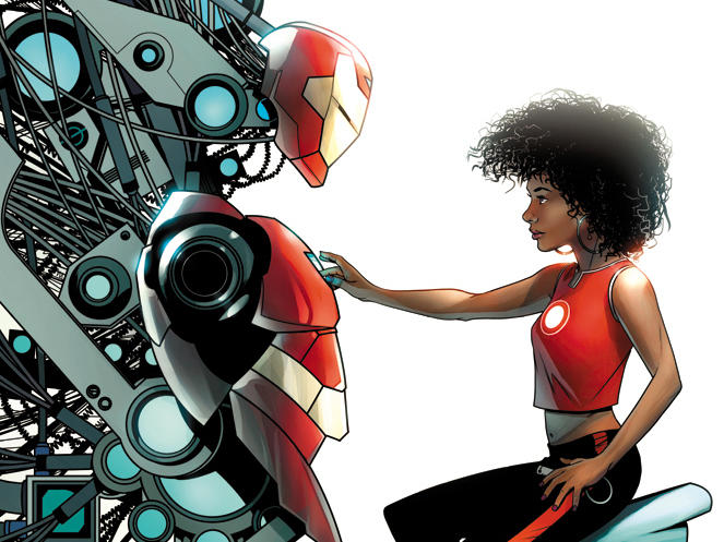 Invincible Iron Man — featuring the debut of a new hero, Riri Williams — is one five books Marvel is using to promote science, math, and arts disciplines through a series of covers.