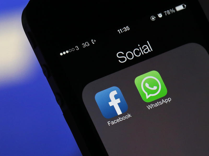 WhatsApp and Facebook icons are shown on a phone screen.