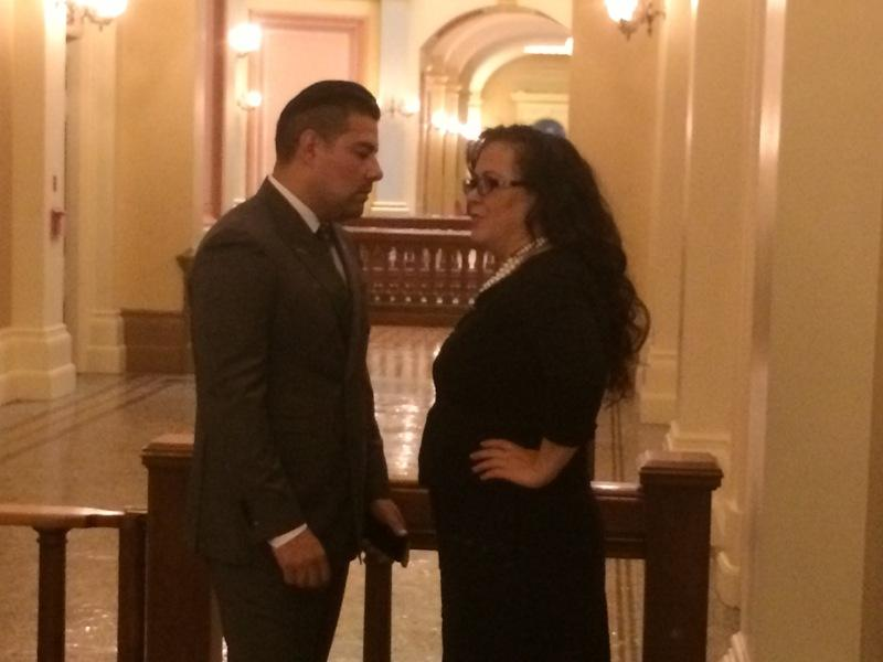 Senate Appropriations Committee Chair Ricardo Lara (D-Bell Gardens) and Assembly Appropriations Committee Chair Lorena Gonzalez (D-San Diego) chat in a Capitol hallway Thursday before their committees took up more than 500 bills combined.