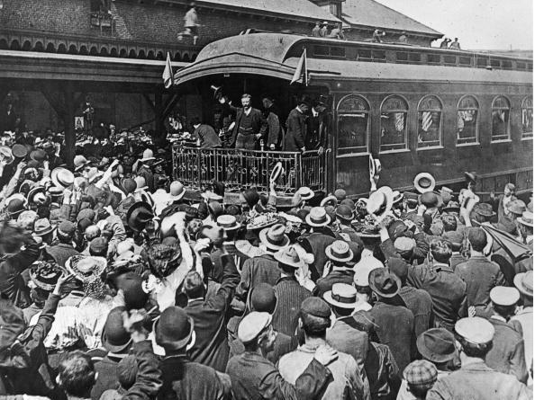 Theodore Roosevelt addressed a crowd from the back of a train at South Lawrence Train Station in Lawrence, Mass., in 1902.