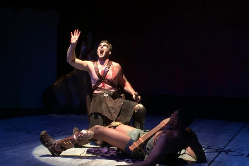 Ajax and Odysseus fight as Ajax feels betrayed by Odysseus' selection as Achilles' successor, in the play