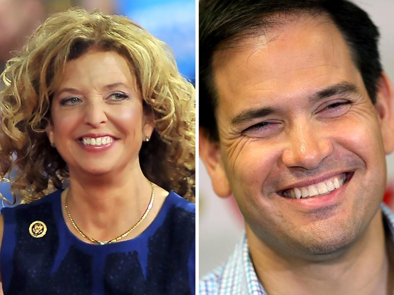 (Left to right) Rep. Debbie Wasserman Schultz, Sen. Marco Rubio and Sen. John McCain.