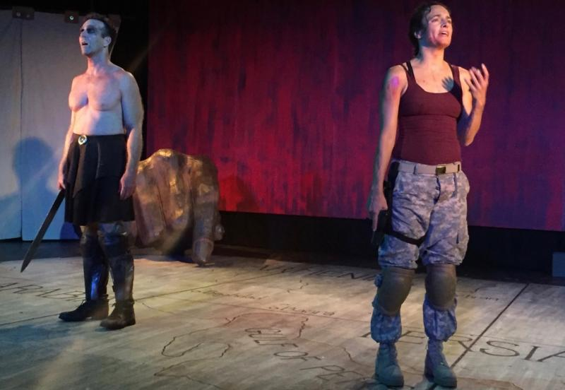 Ajax and A.J. descend into madness after they both experience the horrors of war, in the play
