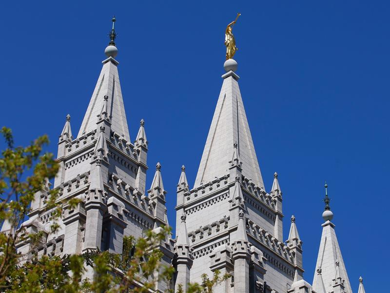The spires of the historic Salt Lake Temple on April 2, 2016 in Salt Lake City, Utah.