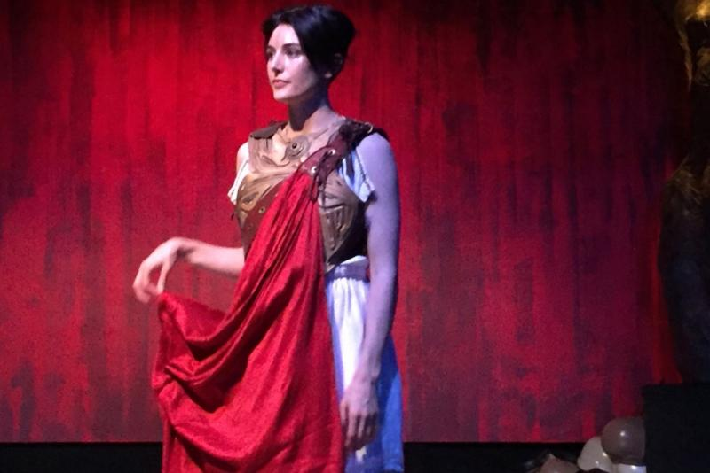 "Athena (played by Joanna Bateman) is the goddess of war, and she drives Ajax to madness solely for her own amusement. The play ""Ajax In Iraq"" runs at the Greenway Court Theater through August 14th."