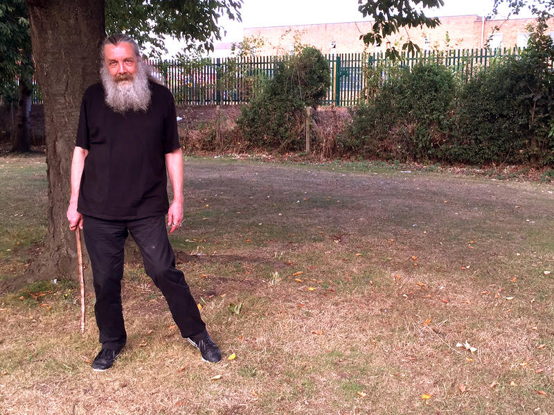 Holy ground: Alan Moore standing on the site of his childhood home.