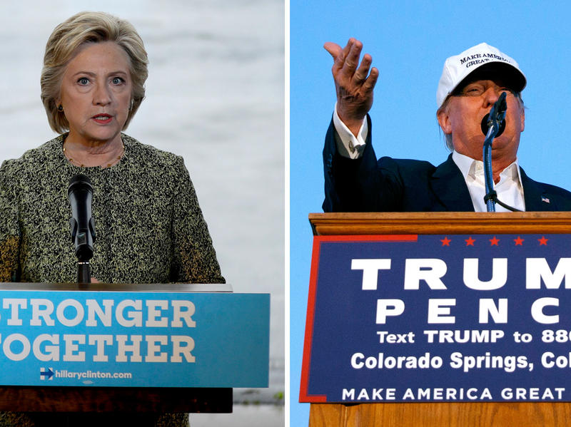 (Left) Hillary Clinton speaks to members of the media on Monday. (Right) Donald Trump spoke in Colorado Springs, Colo., shortly after the Saturday night bombing in New York.