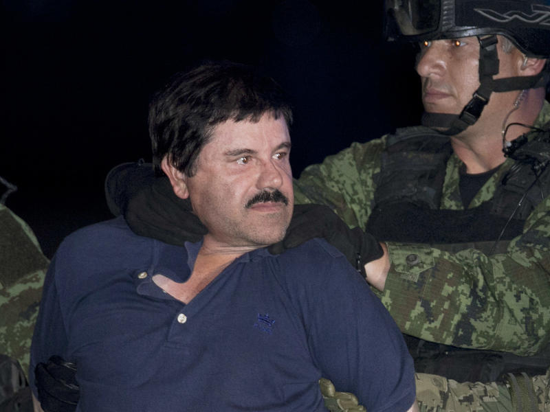 """Joaquin """"El Chapo"""" Guzman — seen here in a photo taken during his recapture on Jan. 8, 2016, could be in the custody of U.S. officials by early 2017."""