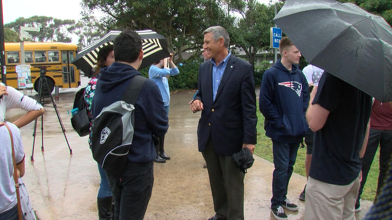 Congressional candidate Doug Applegate talks to students at a Democratic event at UC San Diego.