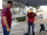 Andrew Chavez and Luis Valencia came to the Huron farmers market to try and get locals on board with medical cannabis.