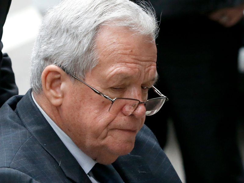In this April 27, 2016 file photo, former House Speaker Dennis Hastert departs the federal courthouse in Chicago after his sentencing on federal banking charges. Illinois Democratic state Sen. Scott Bennett is responding to the Hastert hush-money case wit