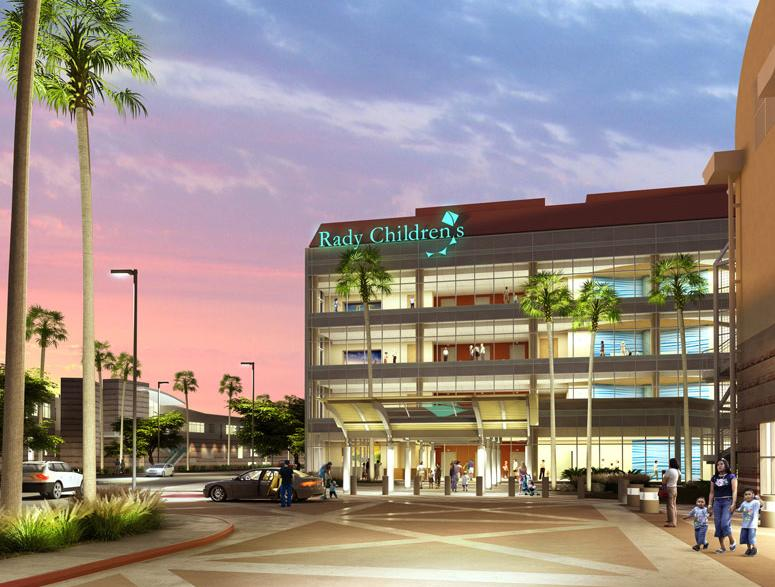 The front view of Rady Children's Hospital's Acute Care Pavilion.