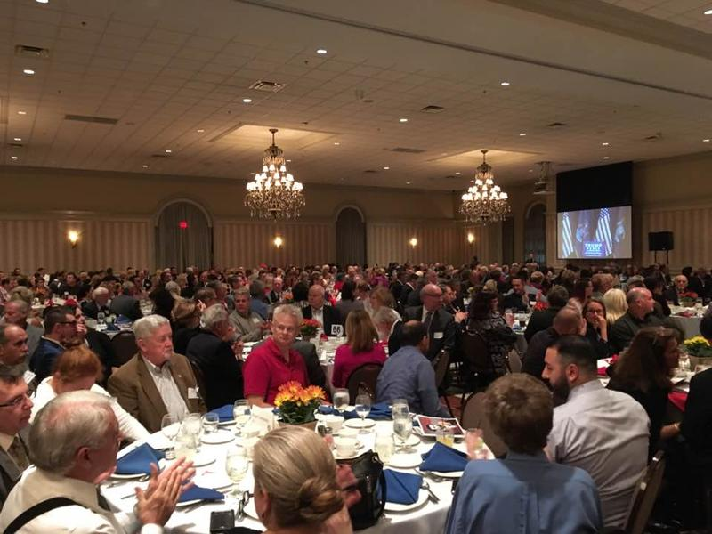 Pence spoke to a packed house at the Macomb County Republican Party's Lincoln Day dinner.