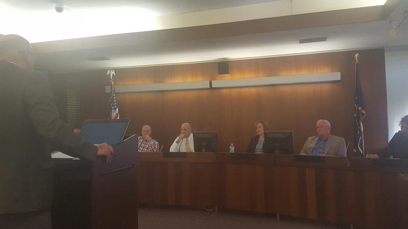 Jonathan Anderson presenting to the Evansville Redevelopment Commission.