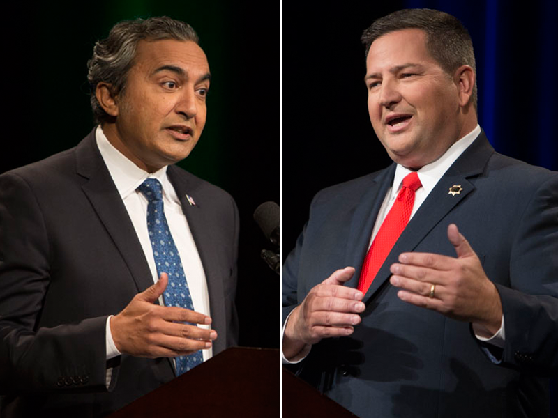Rep. Ami Bera (left) and Sacramento County Sheriff Scott Jones (right) met for their only debate Oct. 18, 2016. It was the only debate in the race for the contentious 7th Congressional District.