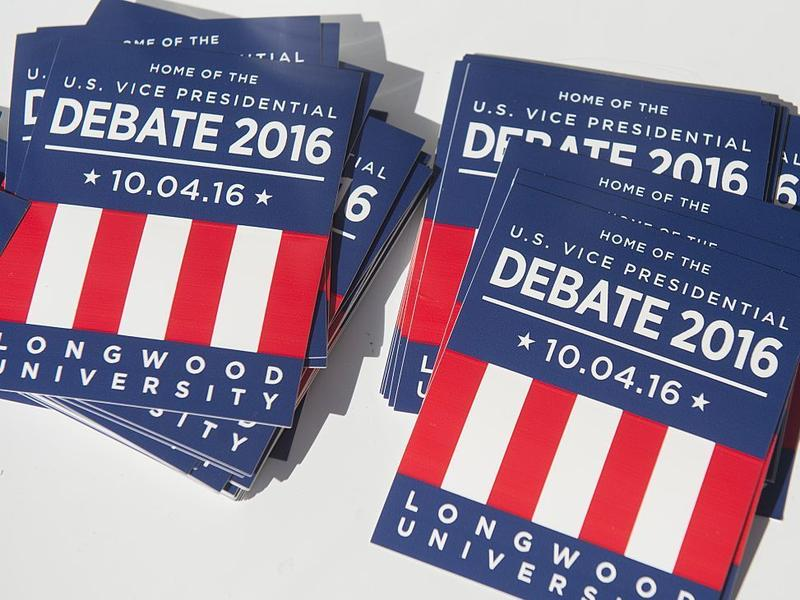 Stacked magnets at a block party ahead of the vice presidential debate at Longwood University in Farmville, Va.