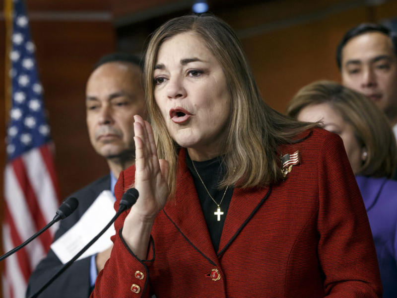 In this Feb. 13, 2015 file photo, Rep. Loretta Sanchez, D-Calif., responds to questions during a Congressional Hispanic Caucus news conference on Capitol Hill in Washington, D.C.