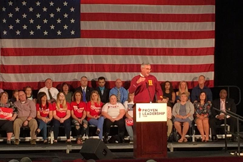 Republican gubernatorial candidate Eric Holcomb campaigns in Jeffersonville, Indiana with nine days to go in the campaign. (Brandon Smith/IPB News)
