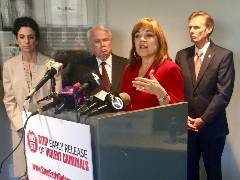 At a morning news conference in downtown Los Angeles, Rep. Loretta Sanchez – flanked by law enforcement officials – announced she is opposed to a ballot measure that would grant some prisoners early parole