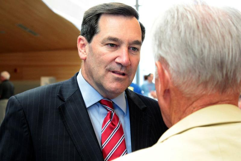 U.S. Sen. Joe Donnelly, D-Indiana, meets with a constituent. (Donnelly Campaign)