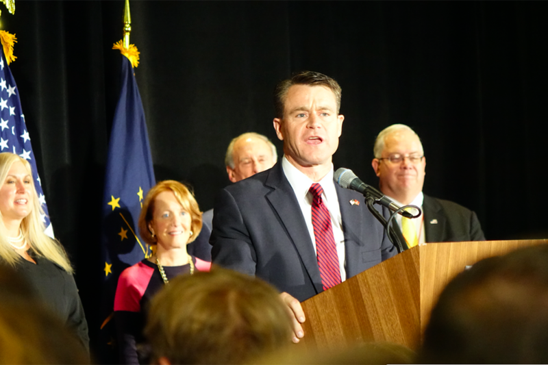 "U.S. Rep. Todd Young defeated Democrat Evan Bayh for Indiana's U.S. Senate seat. Young said the win was for ""hardworking Hoosiers,"" during a watch party at the JW Marriot in Indianapolis. (Eric Weddle/WFYI)"