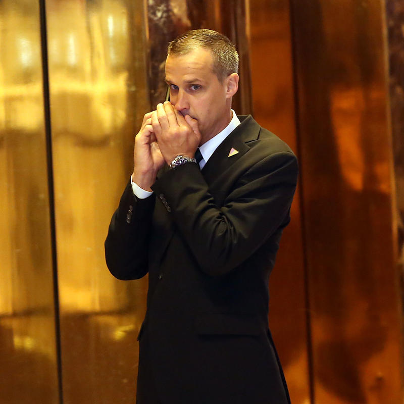 Donald Trump's first campaign manager Corey Lewandowski speaks on the phone at Trump Tower following the conclusion of primaries in northeastern states on April 26, 2016.